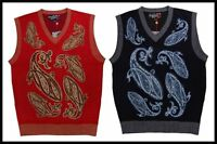 Men's Royal Prestige Casual Embroidery Heavy Sweater Vest Navy,red Snktn340