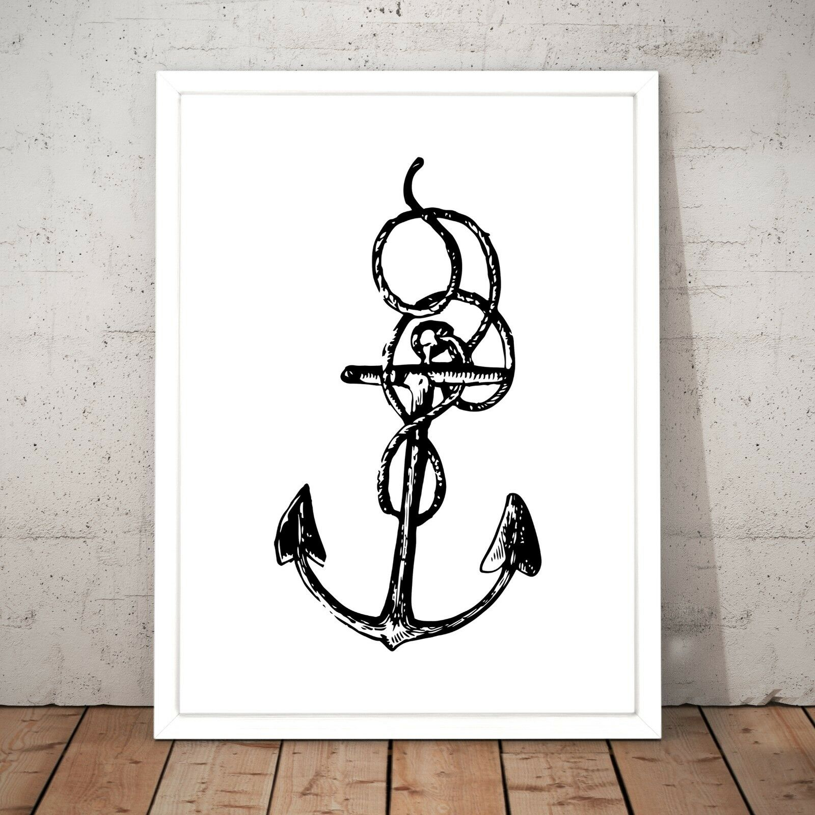 Anchor Nautical Sailing Home Decor Wall Art Poster Print - A3 A2 A1 A0 Framed