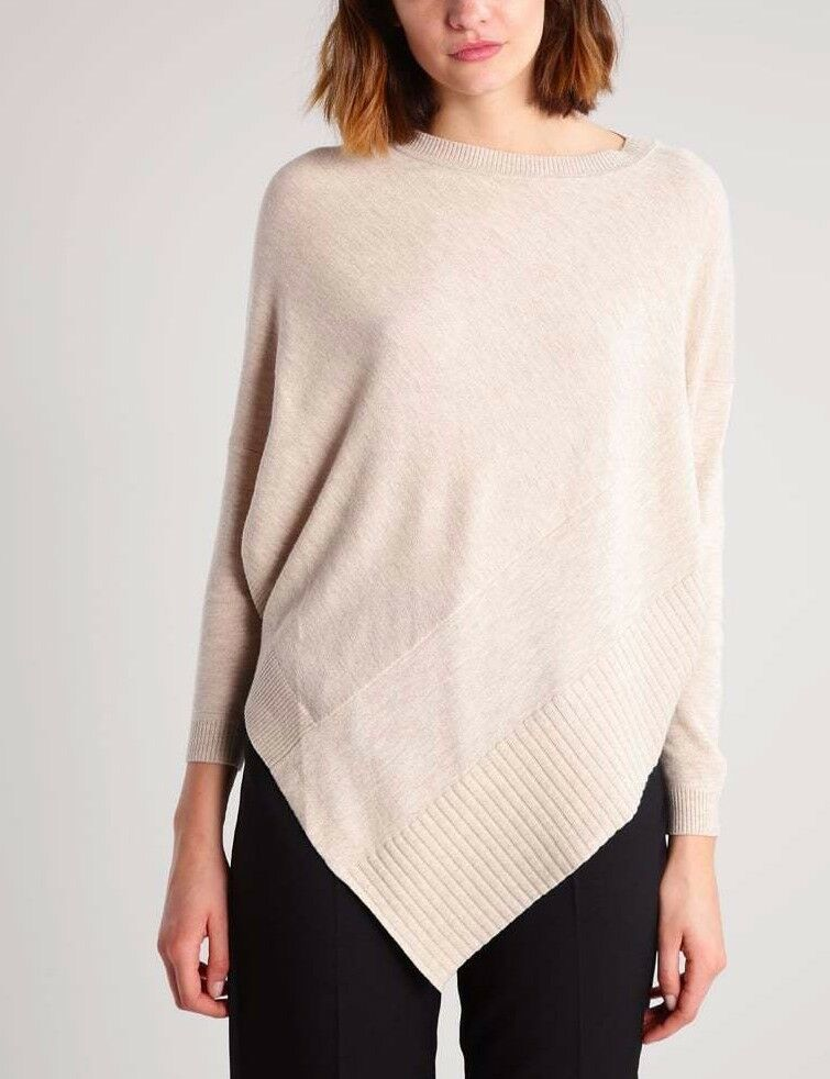 Karen Millen Beige Draped Poncho Knitted Wool Sweater Jumper Top M 12 40 KZ019