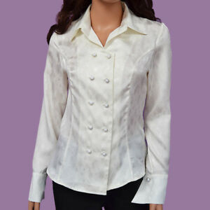 NWT-XS-S-M-L-White-Polyester-Open-Front-Button-Down-Long-Sleeve-Blouse-Top-Shirt