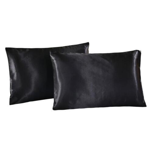 "2Pcs Luxury Soft Pillow Case Cover USA Queen Size Pillowcase 20/""x30/"" Black"