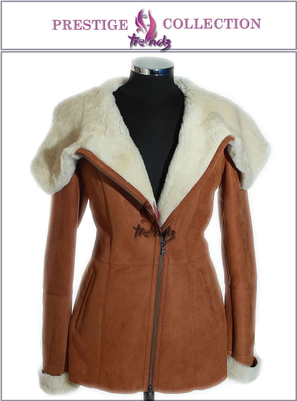 'Prestige' Sophia Tan   White Ladies Hooded Real Merino Shearling Sheepskin Coat