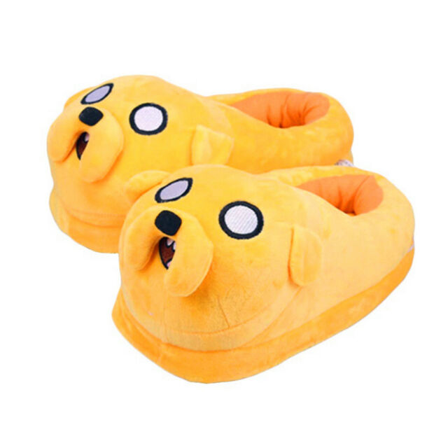 9a8fd77eb98312 Adventure Time Jake Dog Cartoon Stuffed Plush Warm Slippers Shoes Adult