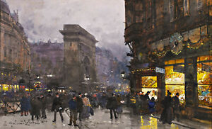 Porte-Saint-Denis-at-Night-Paris-Painting-by-Eugene-Galien-Laloue-Reproduction