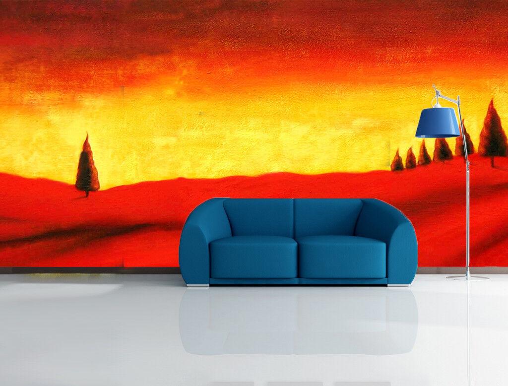 Papel Pintado Mural De Vellón Árboles Rojos De Ladera 21 Paisaje Fondo Pantalla