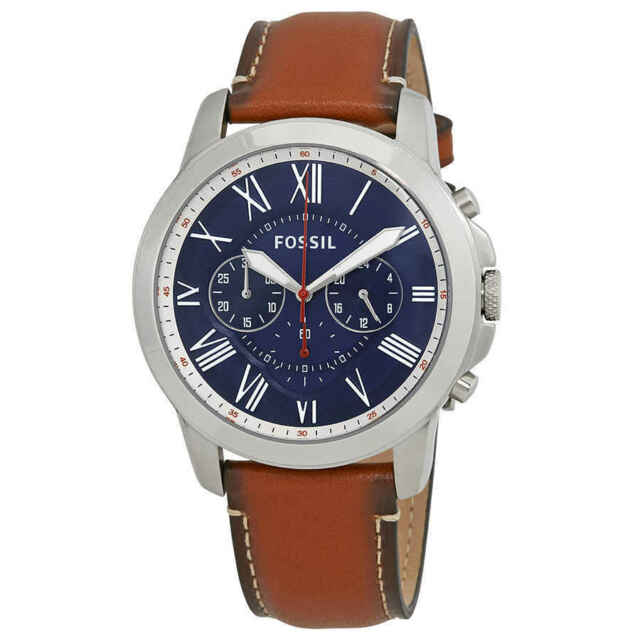 Fossil Men s 44mm Brown Leather Band Steel Case Quartz Blue Dial ... 924be861e5