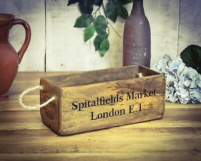 Crate Aspiring Vintage Antiqued Wooden Box Trug Spitalfields Market Small Box