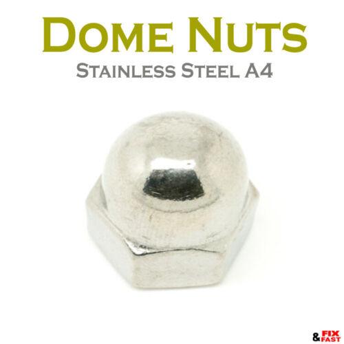 M4 M5 M6 M8 M10 M12 Dome nueces para caber tornillos métricos Acero Inoxidable A4 DIN1587