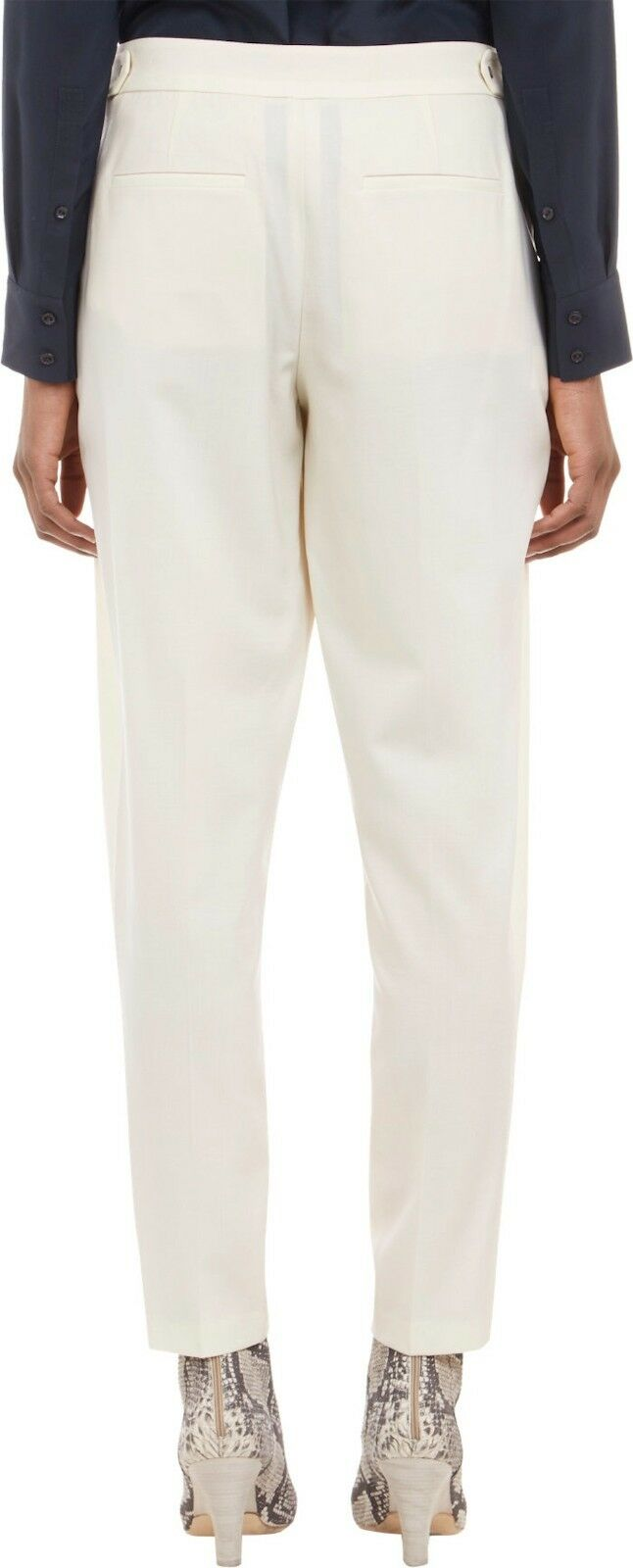Vince Pleated Trouser Ivory Wool Lycra Relaxed Tapered Ankle Pants Sz 2 NWT
