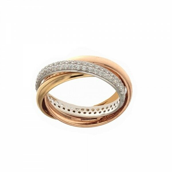 White, yellow and pink gold 18k 750 1000 Three interlaced woman rings