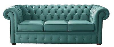 Modern Leather Chesterfield Handmade 3 Seater Sofa Settee Shelly Dark Teal | eBay