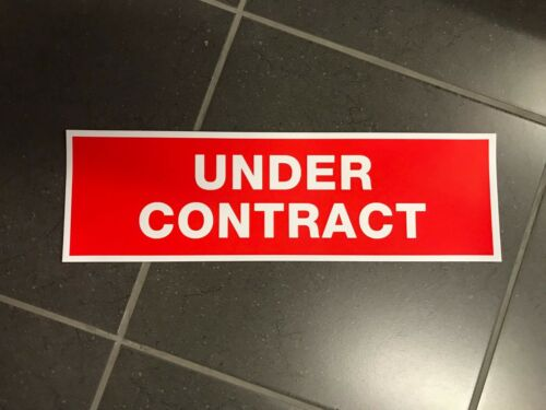 10 pack Self Adhesive Vinyl UNDER CONTRACT stickers 500mm x 150mm