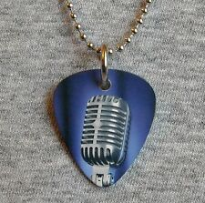 Metal Guitar Pick Necklace MICROPHONE vintage retro vocal dynamic music charm