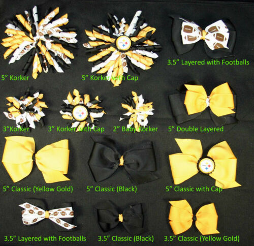 Pittsburgh Steelers Themed Hair Bows Korkers Classic Bottle Caps U-Pick