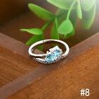 NEW Heart Blue White Gemstone Fashion Jewelry Women Silver Ring Size 6-9 E7