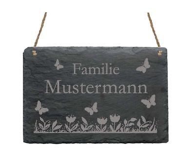 Türschild « Hier Wohnt Familie - Ihr Name - » Schild Schmetterlinge Namensschild