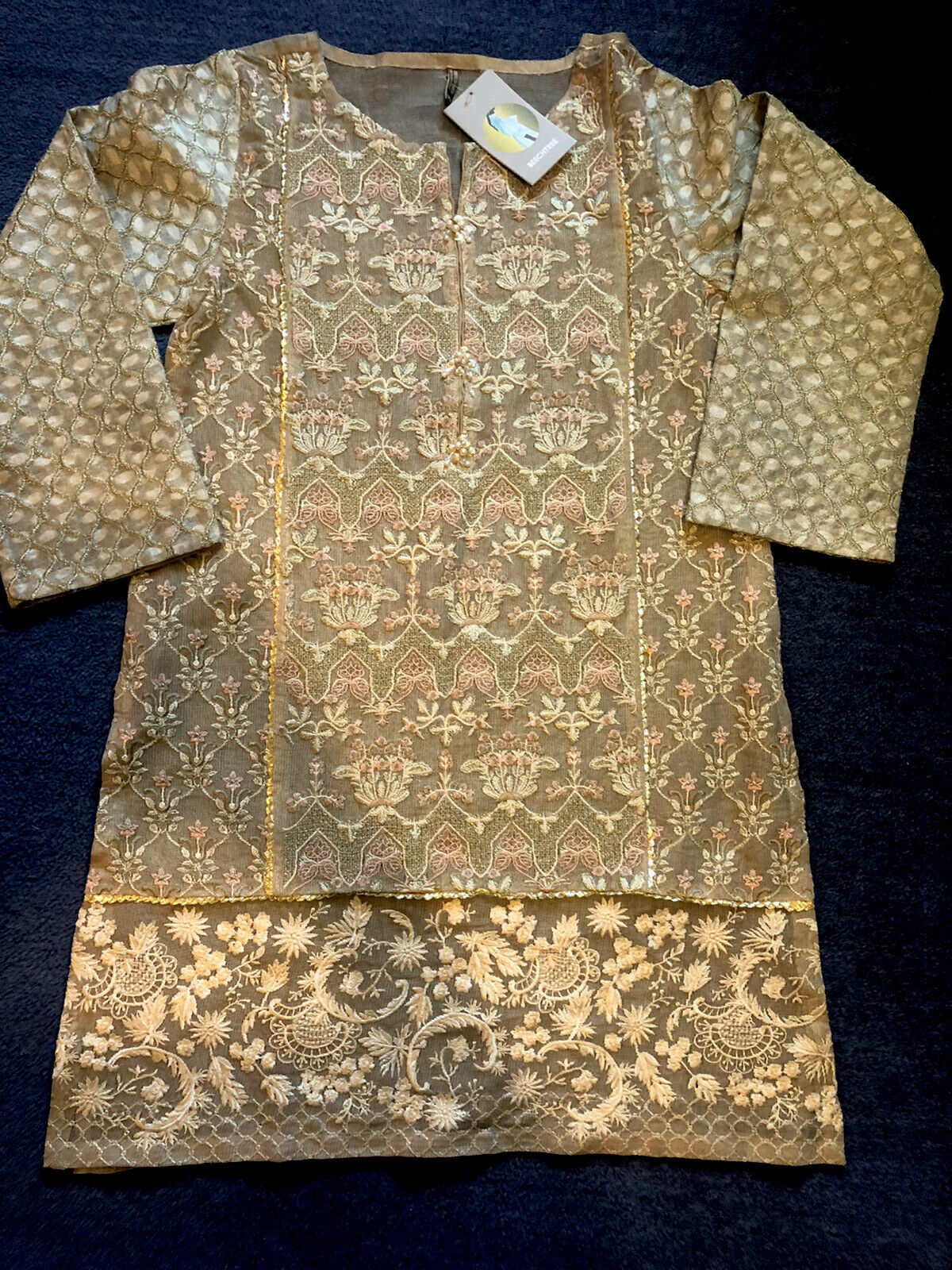 Beechtree Small Luxury Pret Cotton Silk Net Embroidered Golden Kurta With Slip/