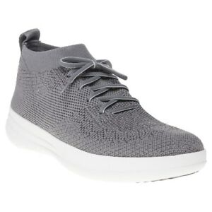 6627ac90e433 New WOMENS Fitflop GRAY UBERKNIT SLIP ON HIGH TOP NYLON SHOES HI ...
