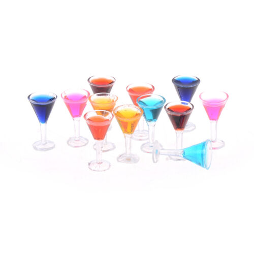 2PCS Dollhouse miniature colorful glass cup goblet bar drinking 1:12 In FZ