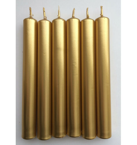 Metallic Dinner Candles 21mm x 170mm Non-Drip GOLD SILVER PEARL