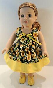 18 Inch Doll Clothes - Sunflowers on Black Sun Dress by Jane Ellen