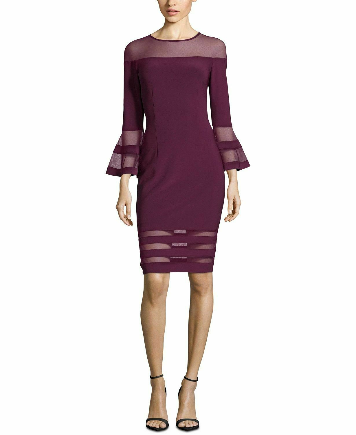 399 BETSY & ADAM WOMEN PURPLE ILLUSION-STRIPE BELL-SLEEVE SHEATH DRESS SIZE 4