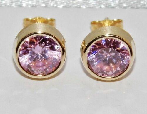9ct Gold Pink Topaz Solitaire Stud Earrings 6mm Diameter