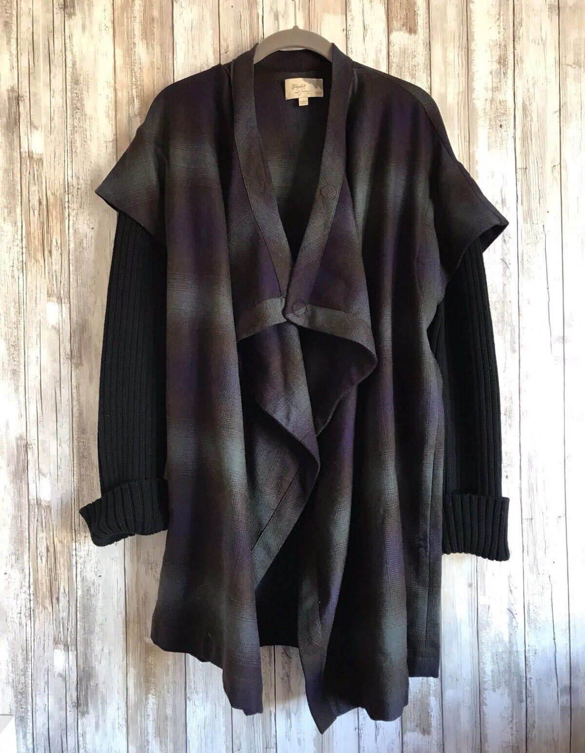 695 Elizabeth James Negro  Púrpura verde Azulado a Cuadros de Lana Abrigo Cortina Abrigo XS S  te hará satisfecho