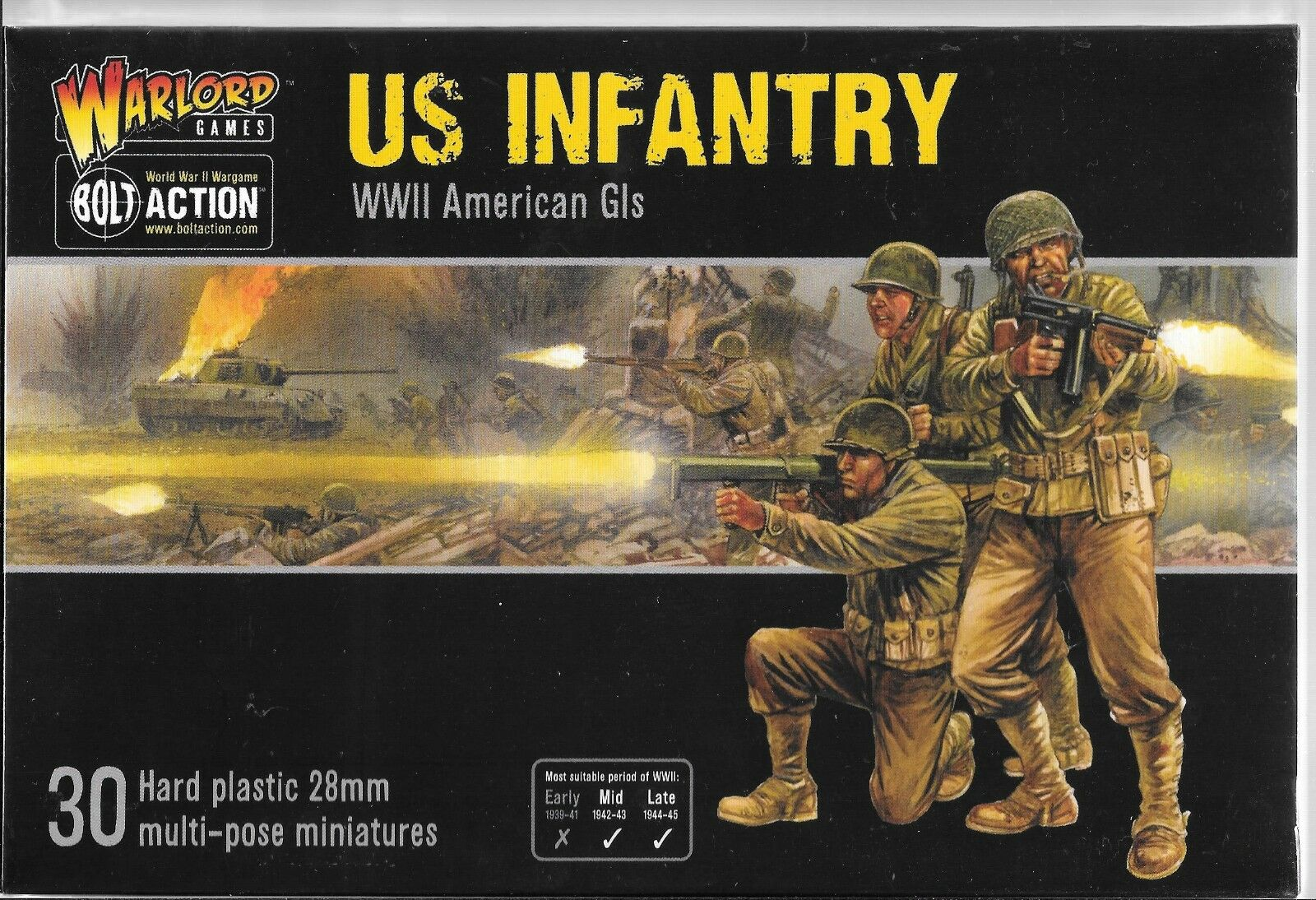 Warlord US Infantry, WWII American GIs, 30 Hard Plastic Figs, 28mm WRL 13012 ST