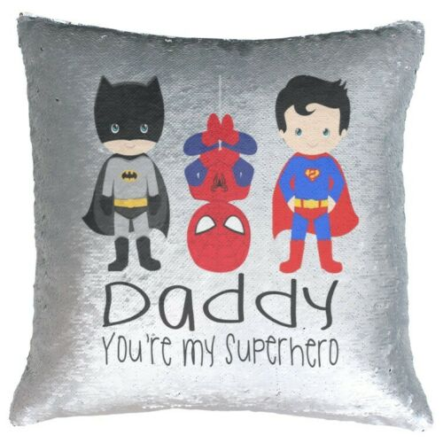 Daddy You/'re My Superhero Sequin Reveal Cushion Cover Decor Gift Fathers Day