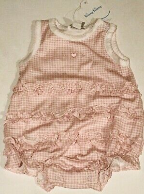 NWT KISSY KISSY GIRLS 3 PIECE PINK GINGHAM HEART OUTFIT 0-3 MONTHS