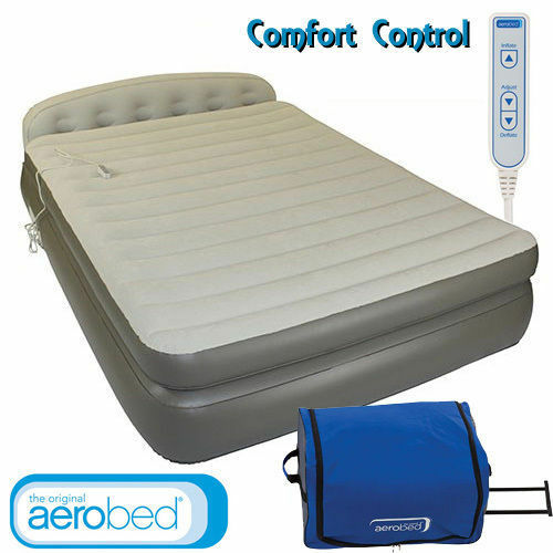 COLEMAN AEROBED QUEEN DOUBLE HEIGHT HEADBOARD  AIR BED WITH 240V PUMP
