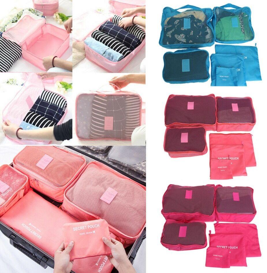 6pcs Travel Set Clothes Laundry Secret Storage Bag Packing Luggage Org... - s l1600
