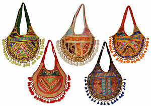 10-Cotton-Ethnic-Sequin-Work-Embroidered-Style-Hippie-Tote-Wholesale-Lot-Bags