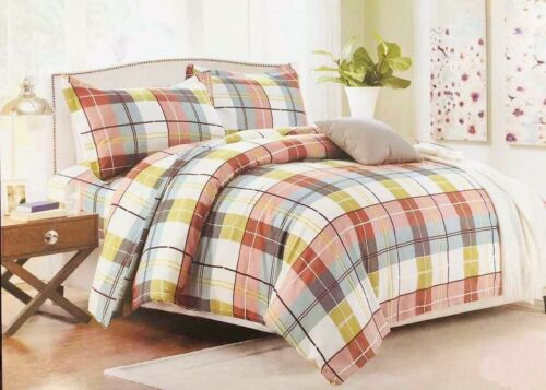 Luxurious Check Design Duvet Cover Bedding Set Pillowcases White//Green//Brown