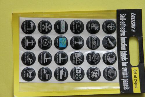 Selbstklebesymbole für Schaltpanele rund 24 Stück