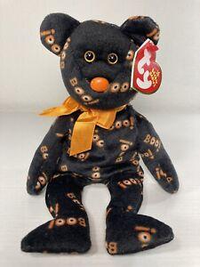 "Retired Halloween Beanie Baby, ""Yikes"" 2006, Black Bear with Orange Boo!"