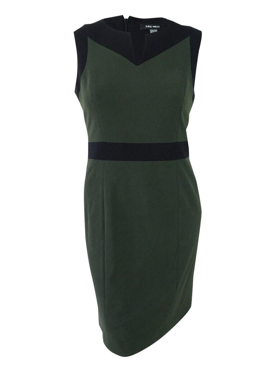 Nine West Woherren Stretch Farbeblocked Sheath Dress (14, Pine Tree schwarz)