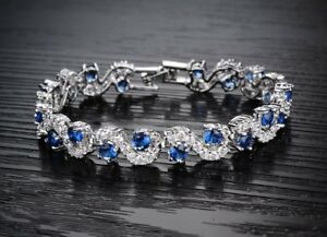 18K-18ct-White-gold-GF-Lab-Diamond-Accent-amp-Sapphire-Tennis-Soild-bracelet-6-7-039