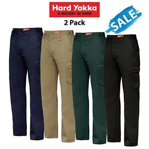 Mens-Hard-Yakka-Cargo-Pants-2-PACK-Warehouse-Deal-Work-Tradie-Industry-Y02500