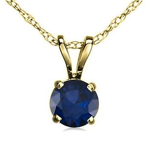 Attractive-7MM-Sapphire-14CT-Yellow-Gold-Over-Solitaire-Pendant-Chain