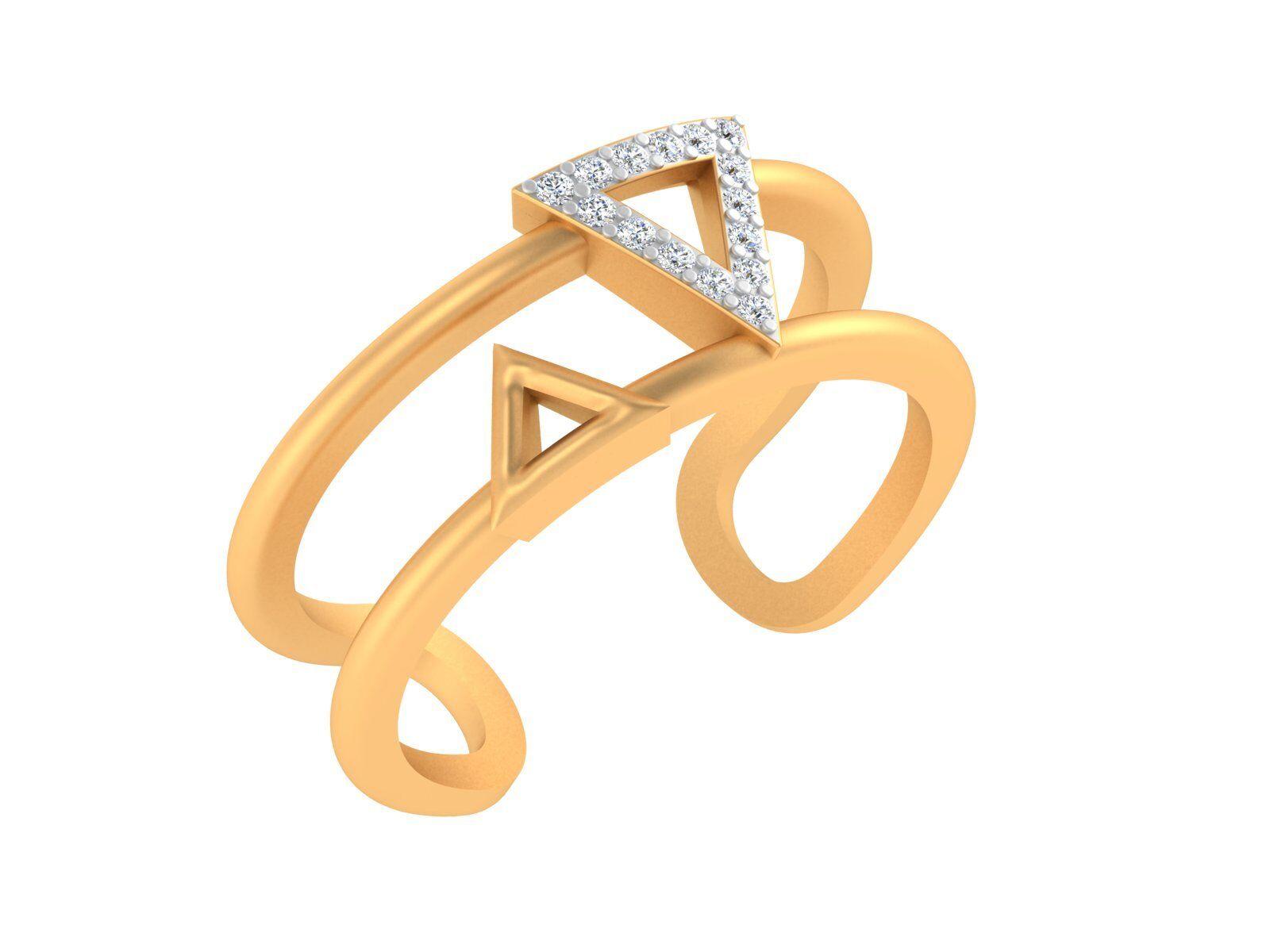 10k Real gold SGL SI-IJ Round Brilliant Cut Diamond Trillion Double Loop Ring