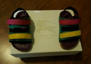 BURBERRY-LEATHER-SANDALS-TODDLER-TOPAZ-BLUE-YELLOW-PINK-EU24-EU8