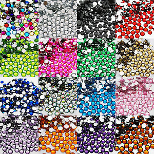 ACRYLIC-RHINESTONES-ROUND-FLAT-BACK-GEMS-NAIL-ART-CRAFT-CARD-TIPS-DECORATION