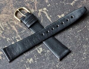 Tapered-shape-supple-black-Genuine-Calfskin-18mm-vintage-watch-strap-Swiss-Made