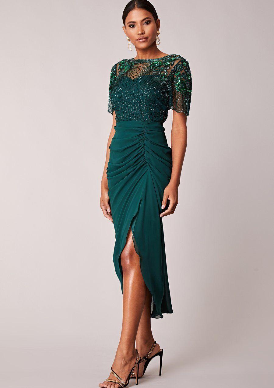 Virgos Lounge Denise vert Embelli Ruch Parti demoiselle d'honneur Midi Robe 6 8 12
