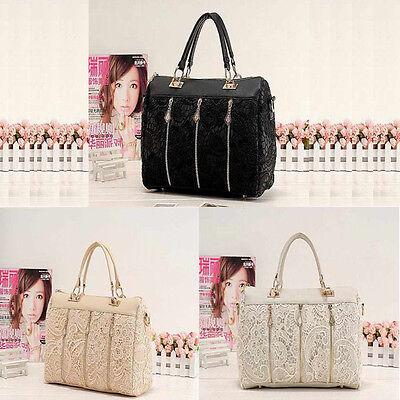 Fashion Women PU Leather Messenger Bag Tote Shoulder Bag Lace Handbag Excellent