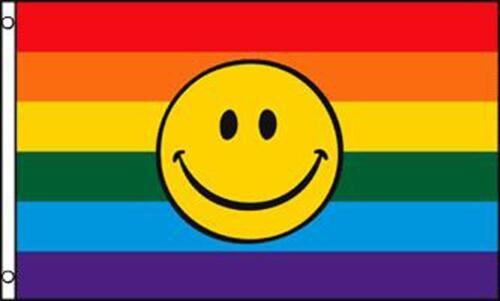RAINBOW SMILEY FACE  3X5 FLAG FL613 happy gay pride rights love equality support