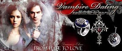 vintage Vampire Diaries silver Red Heart Crystal Memorial cross necklace locket