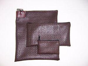 3 Piece Vinyl Bank Deposit Bag Combo Set Money Bag 1 each 13x10 10x5.5 5x3